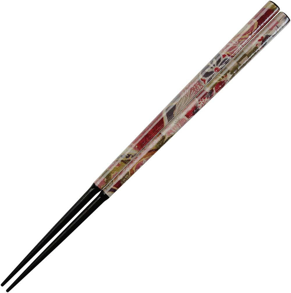 Nishijin Chopsticks Floral on Black Wood