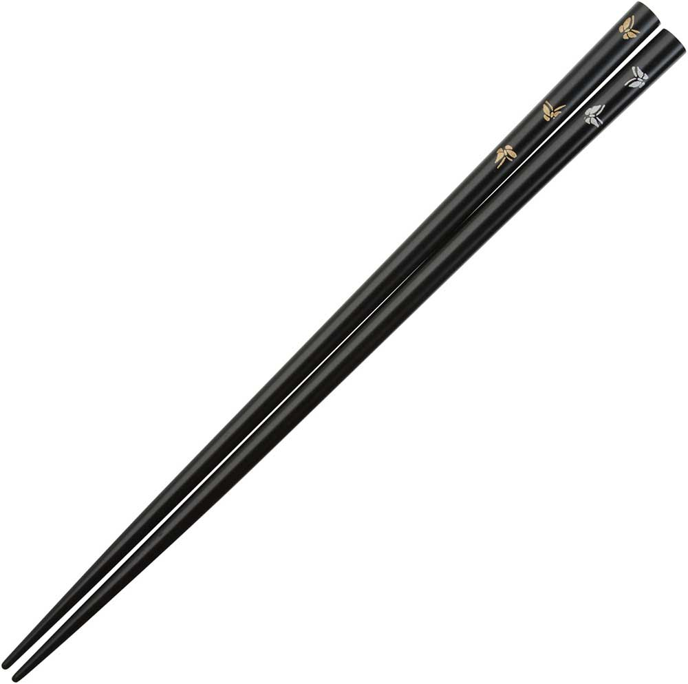 Butterflies of Gold and Silver on Black Japanese Chopsticks