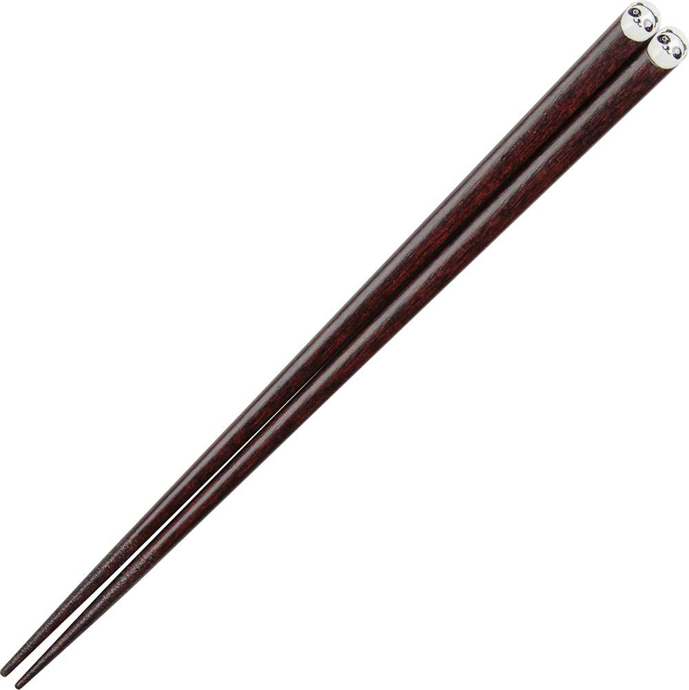 Panda on Dark Wood Japanese Chopsticks