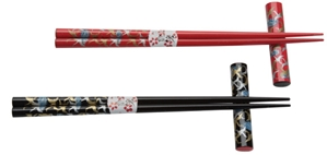 Cranes on Black and Red Japanese Style Chopsticks 2 Person Set Chopsticks gift set, 2 pairs of chopsticks, black chopsticks, red chopsticks, crane chopsticks, chopsticks with rests, 2 person chopstick set, Japanese style chopsticks