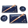 Deep Blue Dragonflies Japanese Dinnerware Set