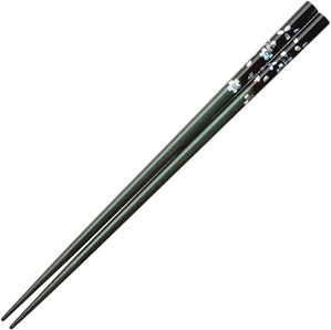Flowers of Foil on Black over Iridescent Green Purple Chopsticks