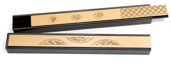 Black Japanese Chopsticks Box Assorted Traditional Patterns