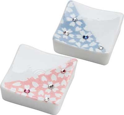Square Chopstick Rest Assorted Pink or Blue with Gems